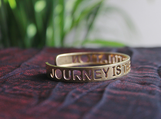 Journey Is The Destination Bangle in Raw Brass