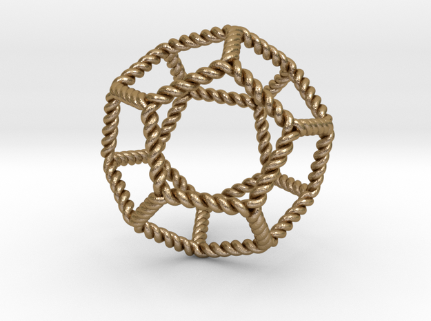 """Twisted Dodecahedron RH 2""""  in Polished Gold Steel"""