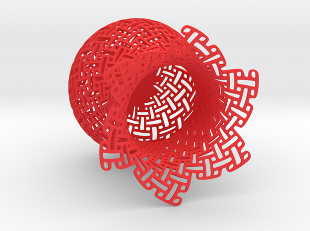 Weave cup in Red Processed Versatile Plastic