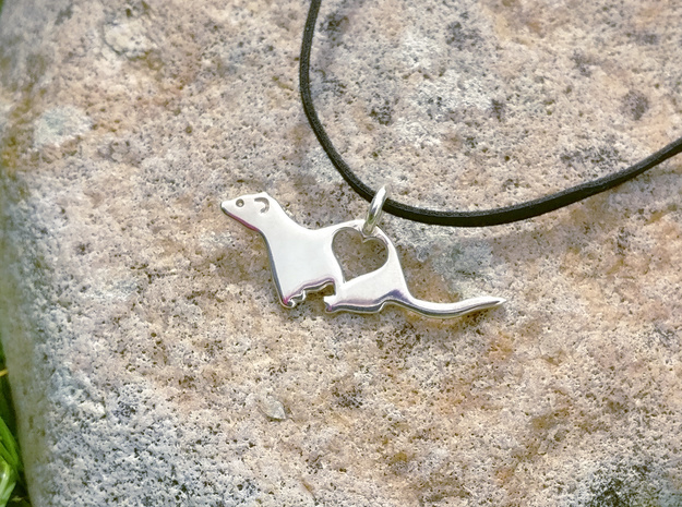 Small ferret love heart pendant in Polished Silver