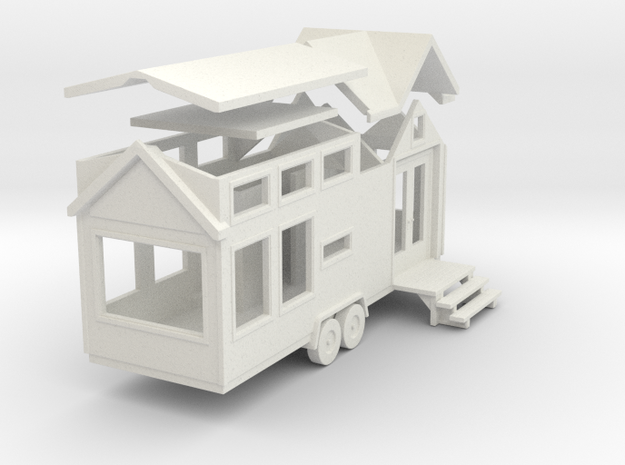 Tiny House #73 - 1:87 Scale Miniature in White Natural Versatile Plastic