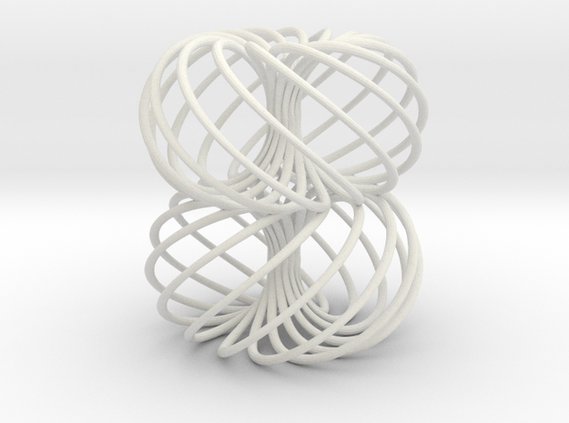 Double Spiral Torus 13/8 in White Natural Versatile Plastic