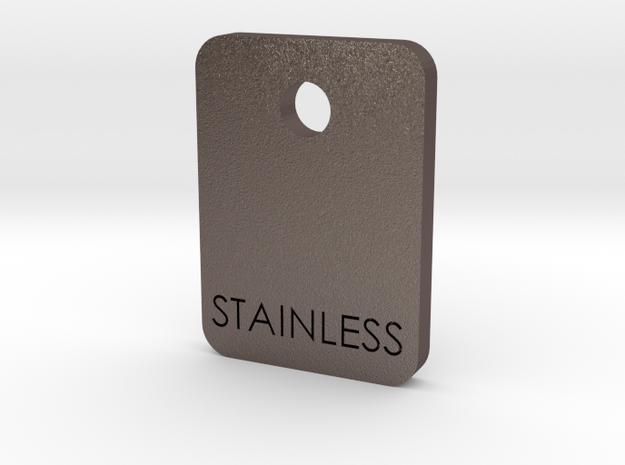 Stainless Sample Finish Chip in Polished Bronzed Silver Steel