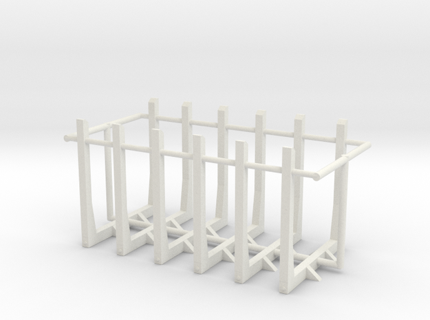 1/50th set of six straight truck log bunks in White Natural Versatile Plastic