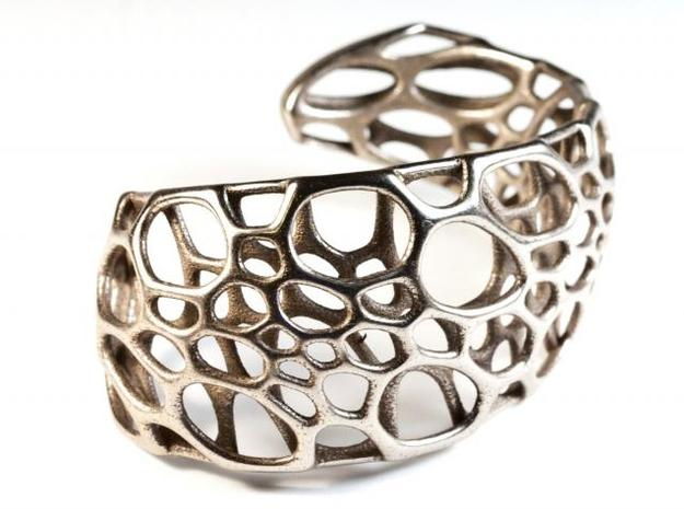 Spiral Cuff in Polished Bronzed Silver Steel: Medium