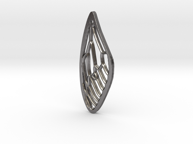 Cicada Wing Pendant - Outside in Polished Nickel Steel