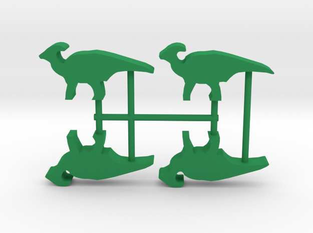 Dino Meeple, Parasaurolophus 4-set in Green Processed Versatile Plastic