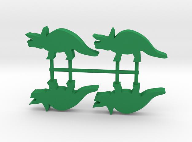 Dino Meeples, Triceratops 4-set in Green Processed Versatile Plastic
