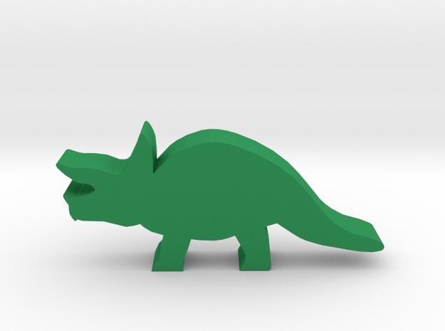 Dino Meeple, Triceratops in Green Processed Versatile Plastic