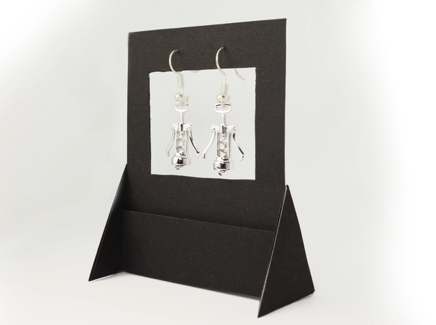 Corkscrew Earrings in Rhodium Plated