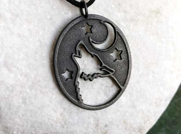 Wolf and moon pendant (steels) in Polished Grey Steel