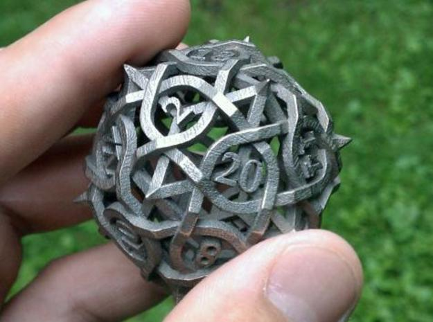 DoubleSize Thorn d20 in Polished Bronzed Silver Steel
