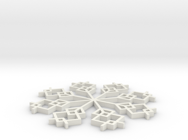 Snowflake 1 in White Natural Versatile Plastic