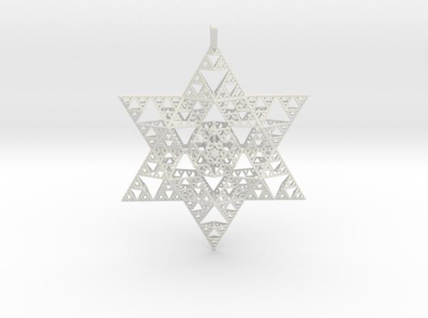 Sierpenski Star of David Ornament in White Natural Versatile Plastic