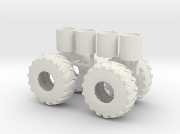 1/50th scale Log Skidder or Construction tires in White Natural Versatile Plastic