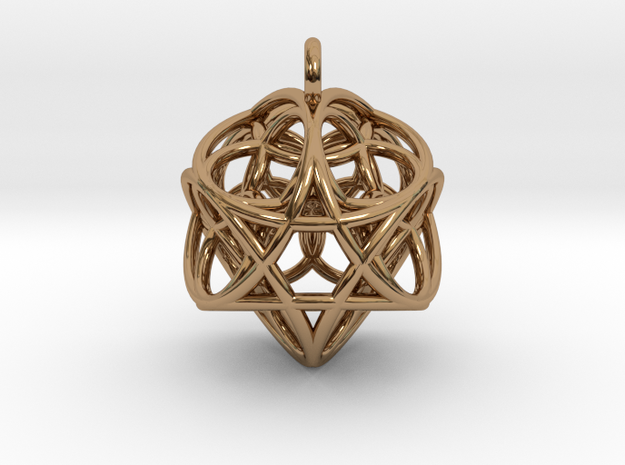 Flower of Life Fire Pendant in Polished Brass