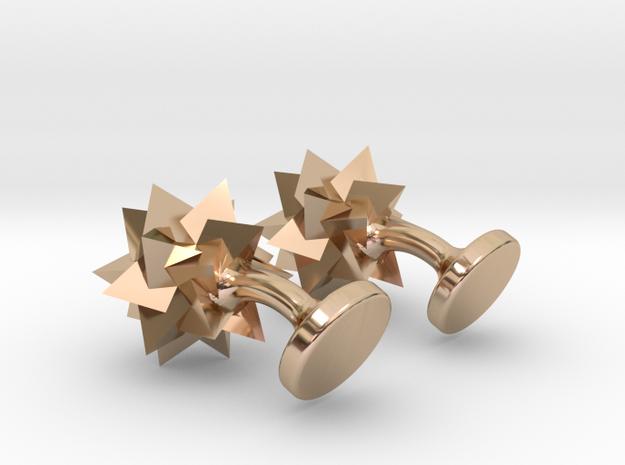 Tetrahedra Cufflinks in 14k Rose Gold Plated Brass
