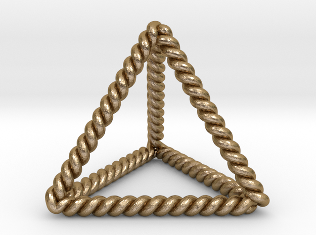 "Twisted Tetrahedron LH 1.4""  in Polished Gold Steel"