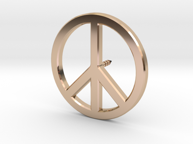 Peace Symbol Lapel Pin in 14k Rose Gold Plated Brass