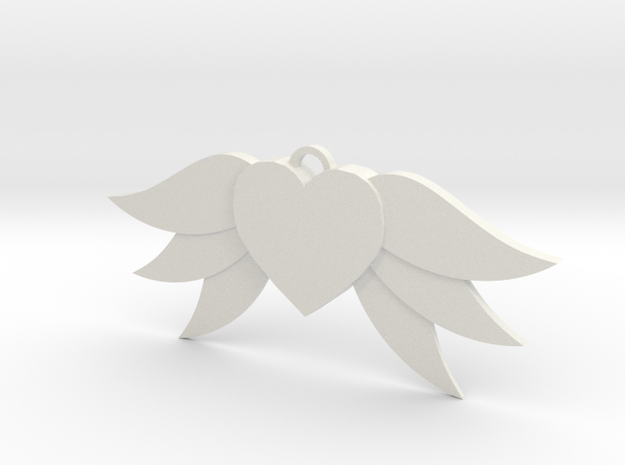 Heart With Wings in White Strong & Flexible
