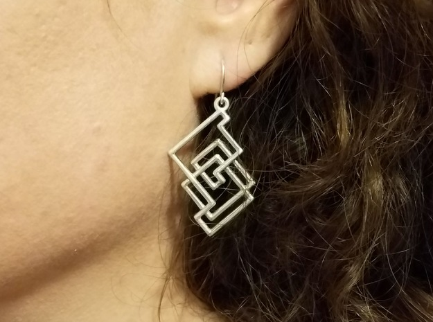 Cobweb Earrings in Polished Silver
