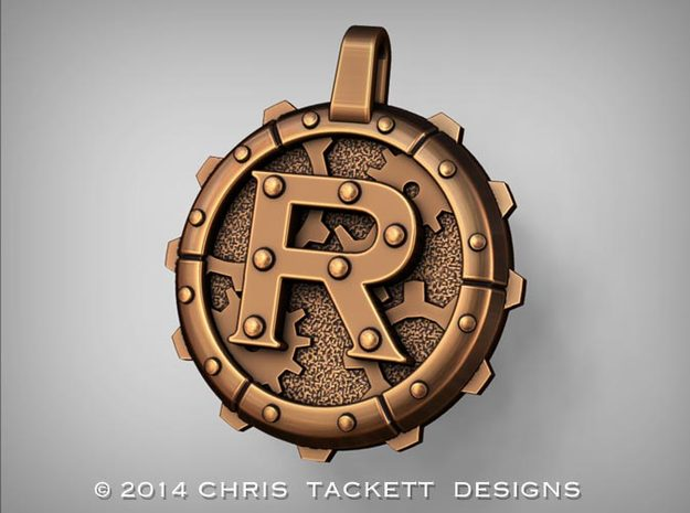 "Steampunk Monogram Pendant ""R"" 3d printed ZBrush Rendering approximating a bronze finish. Actual Bronze finish may look a bit different."