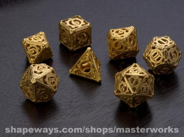 Steampunk Dice Set in Matte Gold Steel