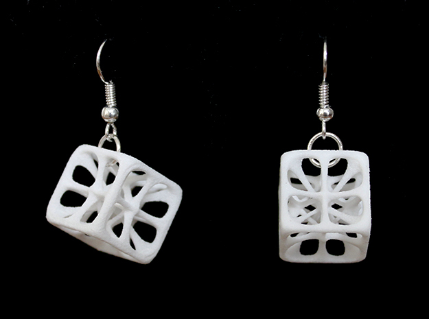 Hexahedron Earrings in White Processed Versatile Plastic