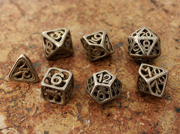 Hedron Dice Set in Stainless Steel: Polyhedral Set