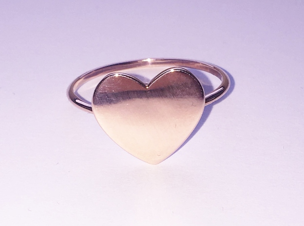 Thin Heart Ring  in 14k Rose Gold Plated Brass: 5.75 / 50.875