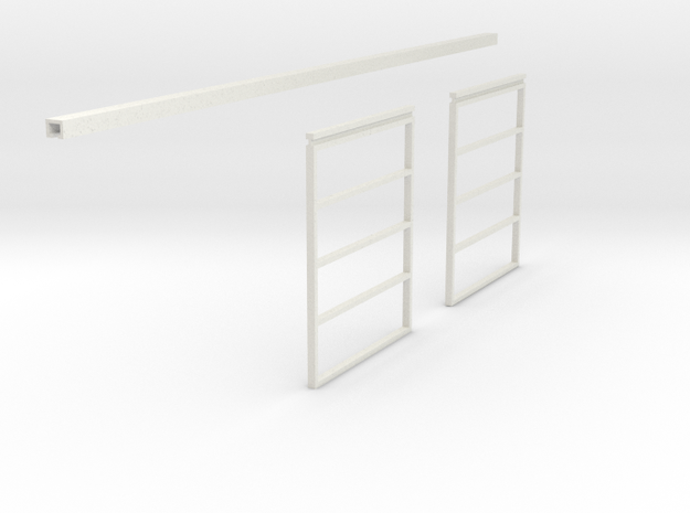1/64 Sliding Machine Shed Door Frame 14' x 24' in White Strong & Flexible