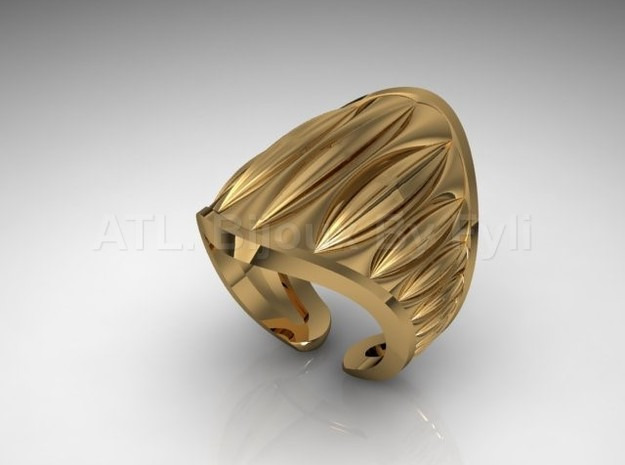 Cocoa Pod Ring – Size 5 - 8 in 14k Gold Plated Brass