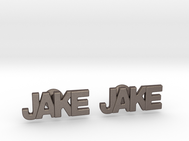 Custom Name Cufflinks - Jake in Stainless Steel