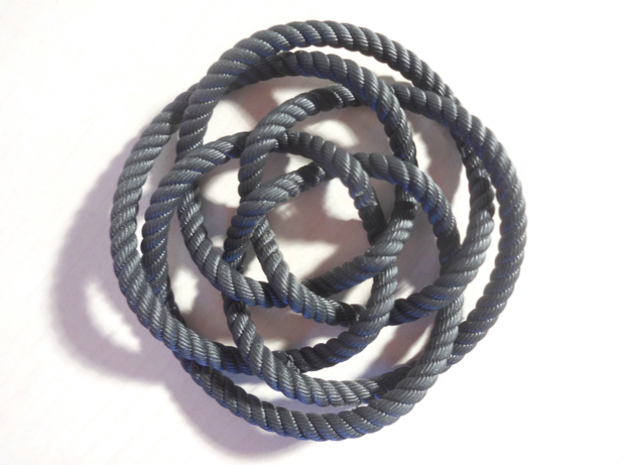 Rose knot 4/5 (Rope with detail) in Black Hi-Def Acrylate: Medium
