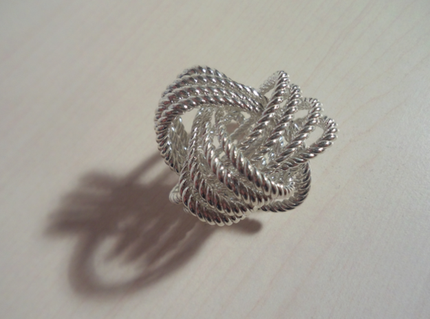 Monkey's fist knot (Rope) in Polished Silver: Extra Small