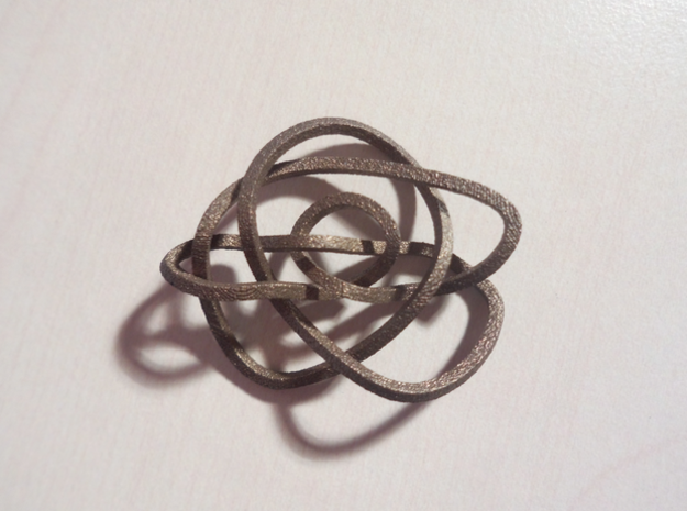 Ochiai unknot (Square) in Polished Bronzed Silver Steel: Extra Small