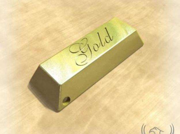 Golden Ingot Pendant 3d printed Gold Rendered