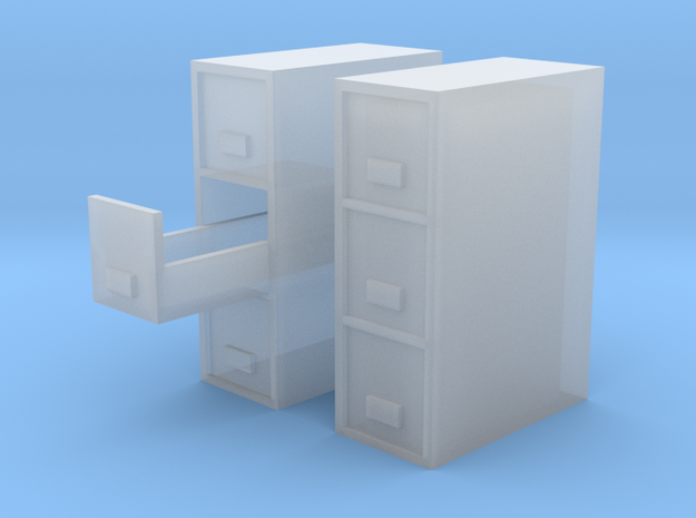 1/64 Filing Cabinet 3 drawer in Smooth Fine Detail Plastic