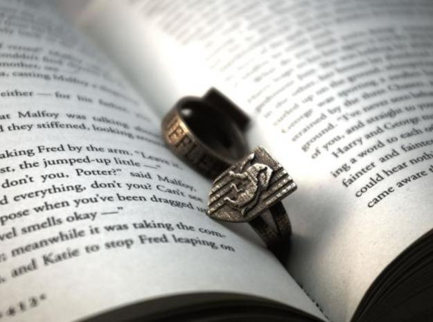 Hufflepuff Ring Size 4 in Polished Bronzed Silver Steel