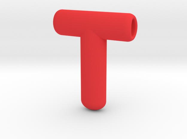T Oval Pendant in Red Processed Versatile Plastic