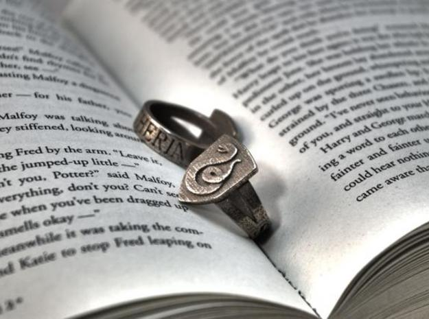 Slytherin Ring Size 6 in Polished Bronzed Silver Steel