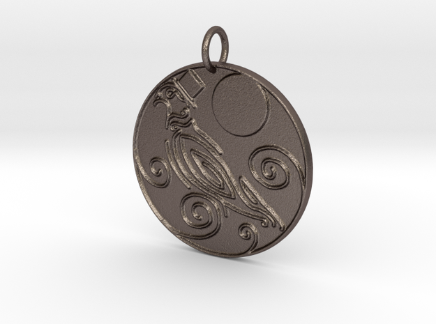 Dapper Pigeon Pendant in Polished Bronzed Silver Steel