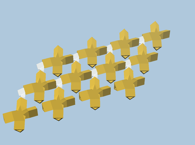 12 yellow cross-bobs, green plane in White Natural Versatile Plastic
