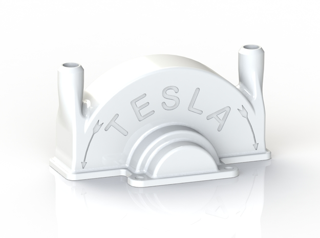 Tesla Turbine Top Casing  in White Natural Versatile Plastic