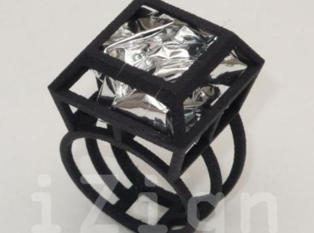 ring06 20 3d printed Black Strong & Flexible dressed up with a silver wrapper (not included)