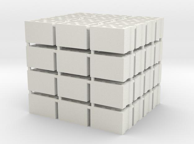64 Hohlblocksteine in Spur 0 (1 : 45) in White Natural Versatile Plastic