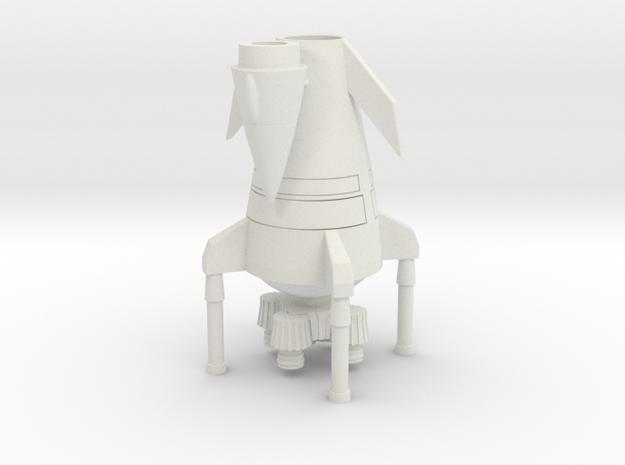 Landed Rocket Ship (Smallest Version) in White Natural Versatile Plastic
