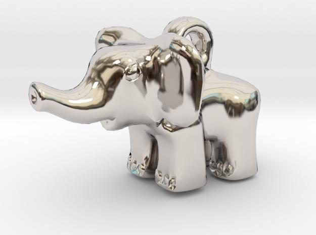 Baby Elephant Pendant in Rhodium Plated Brass
