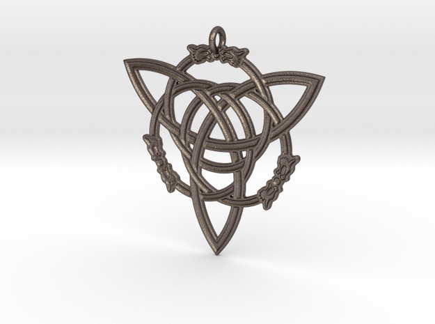 "Celtic Pendant ""Aisling""  (ASH-ling) in Polished Bronzed Silver Steel"