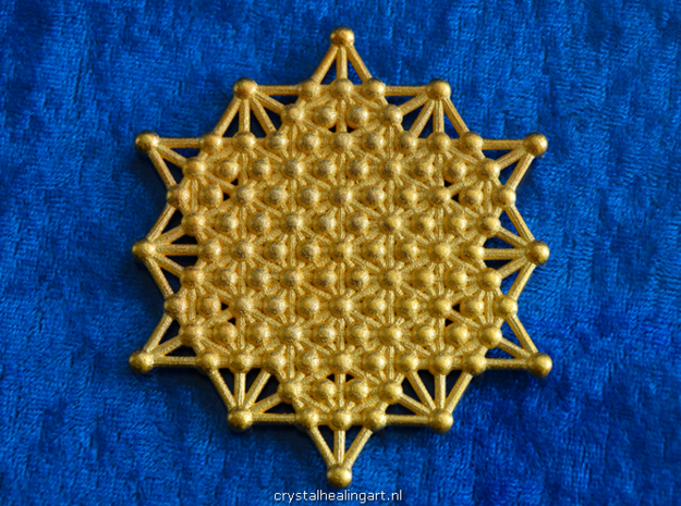 64 Tetrahedron Grid - Merkaba Matrix in Polished Gold Steel
